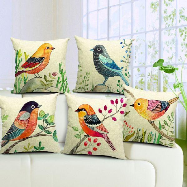6 Stili Dipinti a mano Uccelli Cuscini Copri federa Uccello Cuscino per albero Divano Divano Lancio Cuscino decorativo cotone Lino Presente