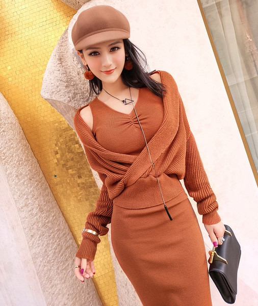Pullover Sale 2017 Autumn And Winter New Knit 2 Piece Set Temperament Package Hip Bottomed Vest Dress + Sweater Two Suit Female