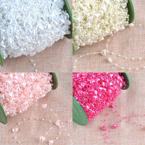Fishing Line Pearl Heart pattern plastic Beads Chain Garland Flowers DIY Wedding Party Decoration 3 Meters CP1127x