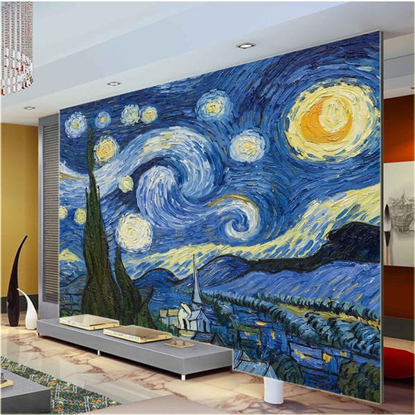 Großhandel Van Gogh Sternennacht Giclee Fine Art Print Wandbild Foto Tapete  Große Größe Papier Wand Kunst Schlafzimmer Flur Kinderzimmer ...
