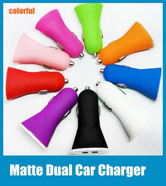 Universal Car Charger with Dual Interface Matte Feeling 5V 3A Micro Auto Power Adapter Trumpet Style fit for iphone ipad samsung HTC CAB020