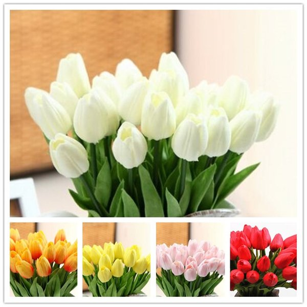 top popular Elegant white PU Tulip Artificial Flowers Simulation Tulip Wedding Party Home Decoration Flowers real touch Tulip flower 2019