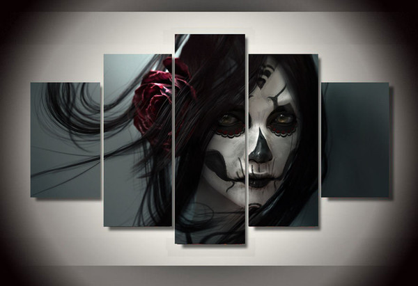5 Panel Framed Painting Day of the Dead Face Group Painting room decor print poster picture canvas decoration Free shipping