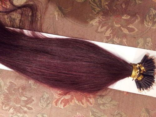 """DHL Free shipping 100% Indian human queen hair products 5A 14""""- 24"""" 1g/s 100s/set stick tip nano ring hair extensions 99j# burgundy"""
