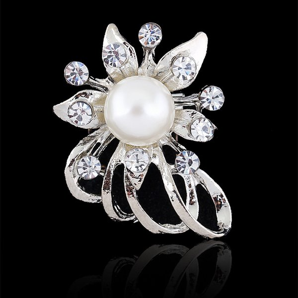 Brooch for Women Bijoux Wedding Broches Fashion Vintage Women Rhinestone Brooch Clear Crystal Flower Silver Christmas Brooches