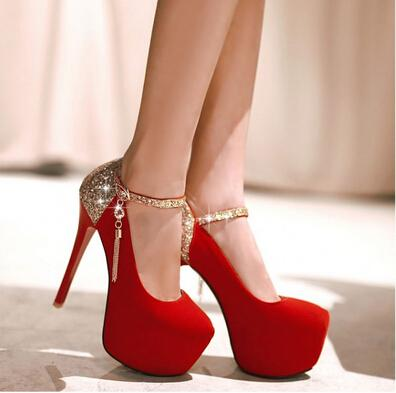 2017 spring autumn new Women's shoes waterproof cingulate red wedding shoe sexy stilettos sequins high heels 35-42 tk0756