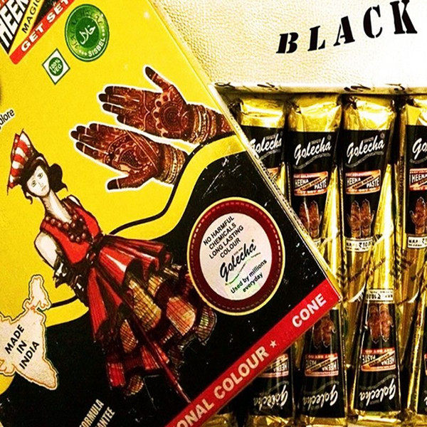 6pcs/lot Golecha Black Indian Henna Tattoo Paste cone Body Art temporary fake finger tattoo henna design body paint kit 25g