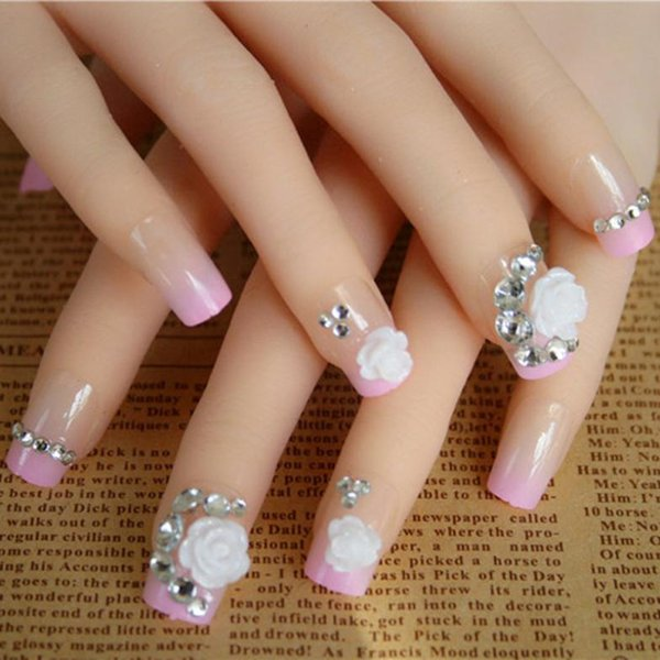 Wholesale 24pcs Set Minx 3d Full False Nails Diamond Rose Decoration Artificial Designs
