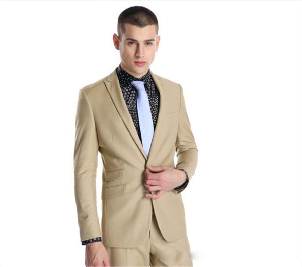 New style Custom made Handsome Wedding Suits Beige Tuxedos Formal Suits Business Wears Peaked Lapel Groomsman suits (Jacket+Pants)