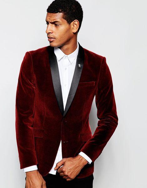 2016 Burgundy Velvet Slim Fit Mens Suits Custom Made Shawl Lapel Groom Tuxedos Wedding Prom Suits Black Pants (Jacket+Pants+Bow Tie)