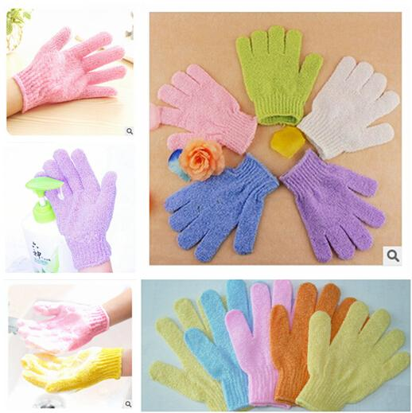 best selling DHL Exfoliating Bath Glove Five fingers Bath bathroom accessories nylon bath gloves Bathing supplies products DHL Free Shiipping