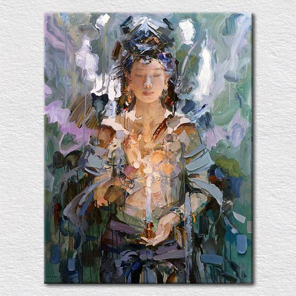 hand made asian boudddha oil painting female goddess buddha canvas wall art religion decorative pictures from china T1P33