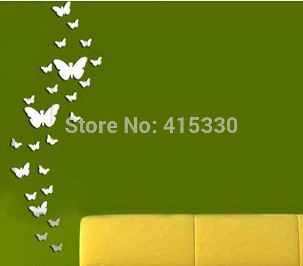 30 autocollants muraux de combinaison de papillon, décoration de la maison en cristal de bricolage 3 d autocollant mural surface miroir, cadeau de l'enfant