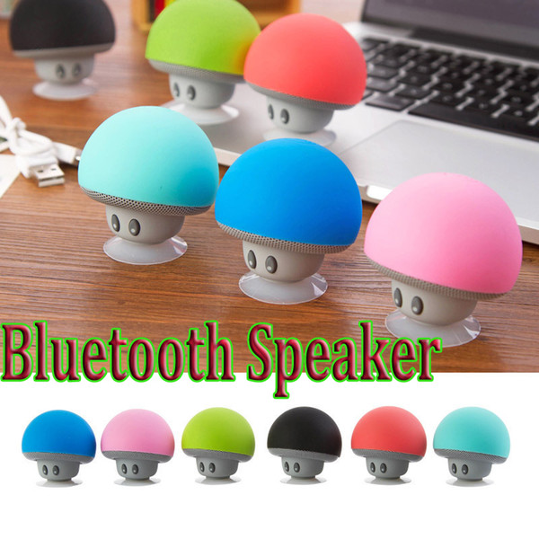 top popular 2015 Mini Bluetooth Speakers Mushroom Style With Mic Suction Cup Stereo Subwoofer Wireless Portable MP3 Music Player Loudspeakers 2021