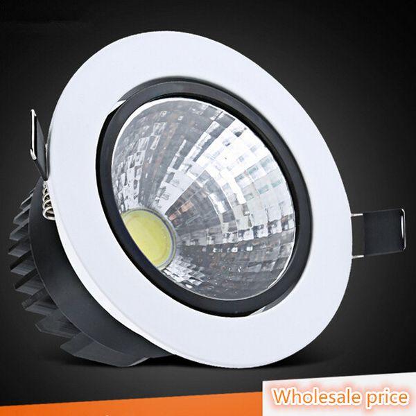 Dimmable CREE 9W 12W COB LED Downlights Luminaire inclinable, plafonnier encastré vers le bas, lampe AC85-265V, blanc froid, naturel et froid