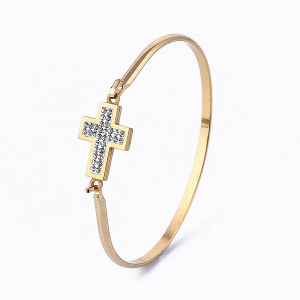 Gold Color 316L Stainless steel Charms bangle Cubic Zirconia Cross Bangle Bracelet Fashion Jewelry Bracelet For Women 6.5*4.8cm