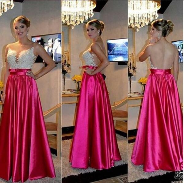 Sexy Fushia Backless Satin Prom Dresses 2016 Spring Illusion Applqieus Sequins A Line Floor Length Sash