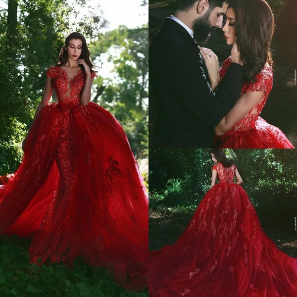 Luxury Overskirts Sheath Mermaid Evening Gown Dubai Red Lace Dresses Party Evening with Removable Skirt Cap Sleeves Formal Dress