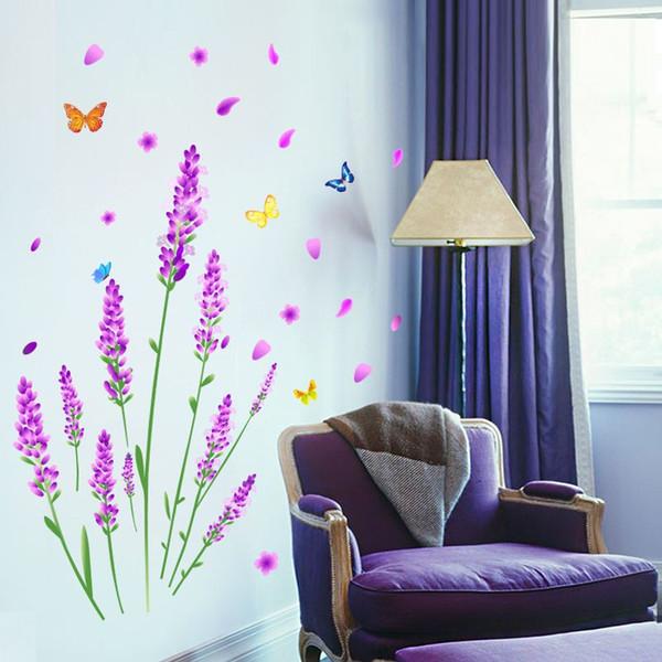 Großhandel Lavendel Wand Abziehbild Aufkleber Haus / Speicher Dekor DIY  Entfernbares Kunst Vinylwandgemälde Für Wohnzimmer / Sofa / Schlafzimmer /  ...