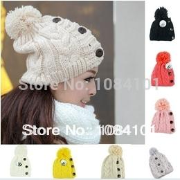 Wholesale-2015 Special Offer Solid Beanies Hot Sale2015rivet Fashion Knitted Neon Women Beanie Autumn Casual Caps Women's Warm Winter