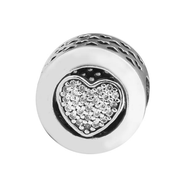 Boncuk Takı Yapımı için Otantik 925 Gümüş İmza Kalp Açacağı Temizle Kristal Charms Mücevherat Diy Bilezik Aksesuarları Uyar