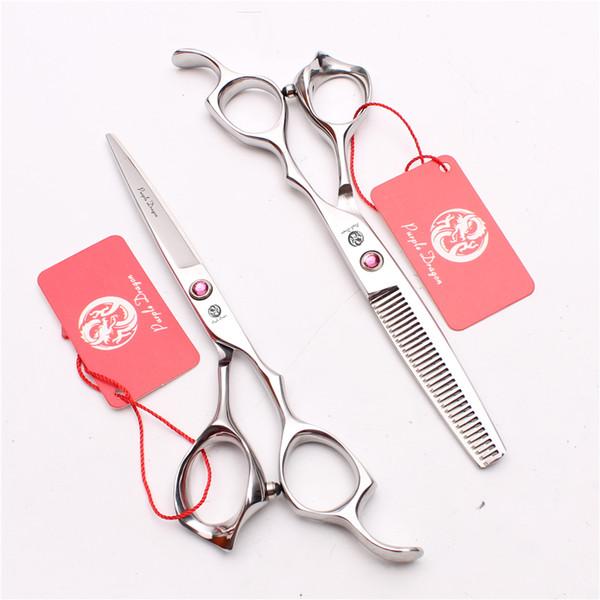 "6"" 17.5cm Japan 440C Purple Dragon Professional Human Hair Scissors Barbers' Hairdressing Scissors Cutting Thinning Shears Style Tools Z1024"