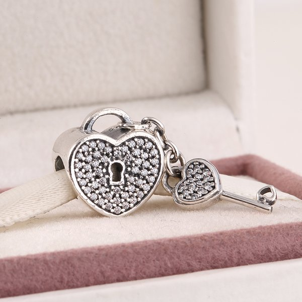 Fits Pandora diy Charms bracelet 2015 New authentic 925 sterling silver pave sparkling zircon key & lock heart charms for women jewelry