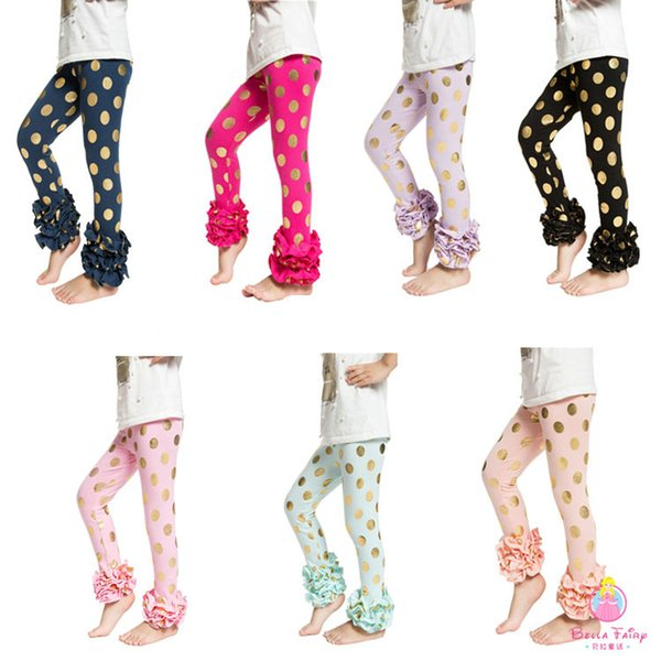 7 colors Free DHL EMS Girls' Shiny Triple Ruffle leggings Pant Cute Petti TUTU bottom leggings Flare Pants Kids Girls Shining fashion tight