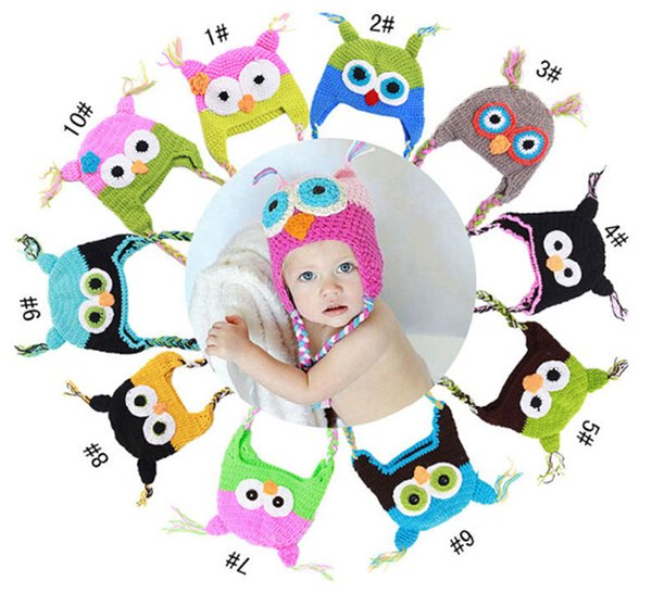 150pcs best price 10 Color crochet hats for kids Baby hand knitting owls hat Knitted hat Children's Caps D401