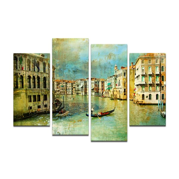 Home Decor Vintage Style Venice Water City Landscape Painting Canvas Art Print On Canvas Cityscape Photo Print Canvas (Unframed)