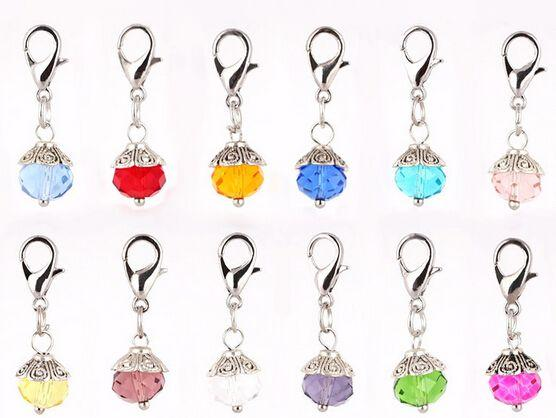 (60,120)PCS/lot Mixed 12Colors Crystal Birthday Stones Beads Birthstone Floating Dangle Pendant Charms With Lobster Clasp