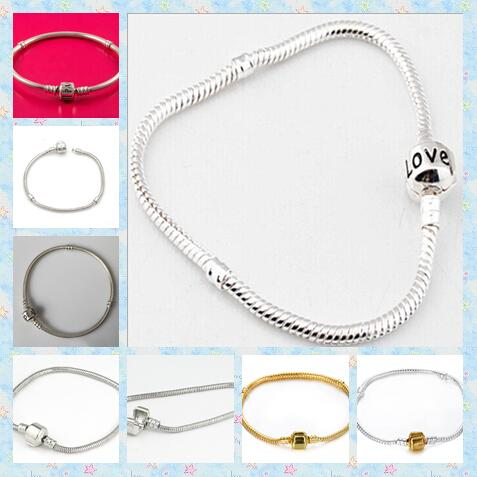 925 silver 3mm Stainless steel Snake Chain Bracelets Fit European Bead Gold/silver mixed size 14-23cm 50pcs
