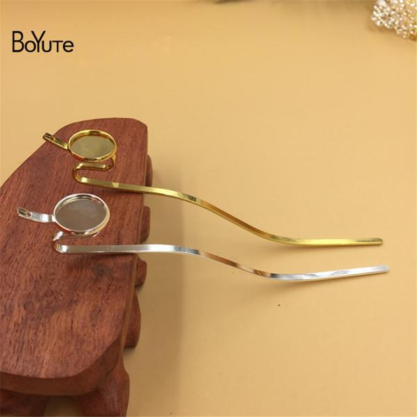 BoYuTe 10Pcs 14MM Base Cabochon Vassoio vuoto Silver Gold Hair Stick Kanzashi Accessori capelli fai da te