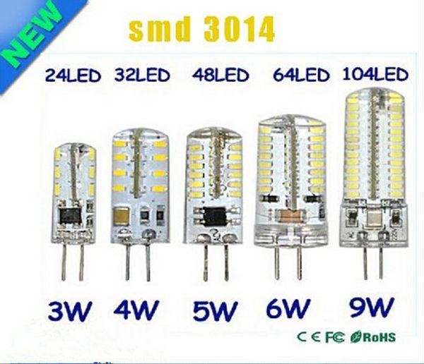 G4 12 V 110-220 V LED Lampada di mais 3 W 4 W 5 W 6 W 9 W LED Lampada 3014 Lampadina di mais Lampade in silicone Lampadario di cristallo Decorazione della casa Luce