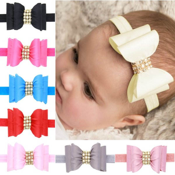 8pcs /Lot Handmade Layer Rhinestone Pearl Satin Bow Headband With Elastic Hair Band For Girls Boutique Hair Accessory H121
