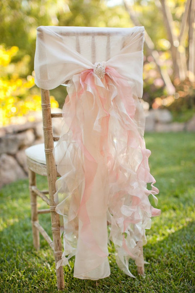 2015 Feminine Ivory Pink Crystal Ruffle Chiffon Chair Sash Chair Covers Wedding Decorations Wedding Accessories