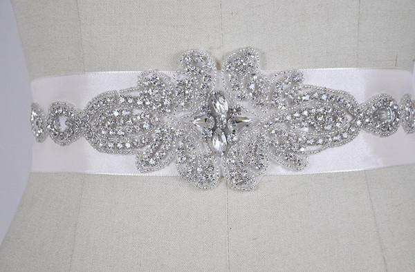 Envío gratis 12 unids / lote adornos de flores de cristal para la boda nupcial cinturón marco hotfix rhinestone cristales de cadena pegamento en
