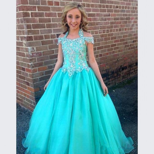 Halter Pageant Dresses For Girls Teens Beadeds Una linea Flower Girl Dresses For Weddings Junior Glitz First Comunione Dress Bambini Abbigliamento formale