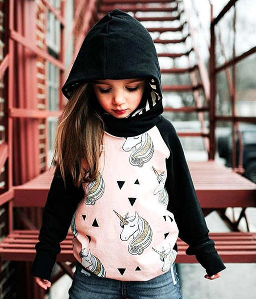 top popular Girls Unicorn INS Hoodies Kids Cartoon Sweatshirts Printed Horse Kids T-shirt Children Tops 2-6years free ship 2019