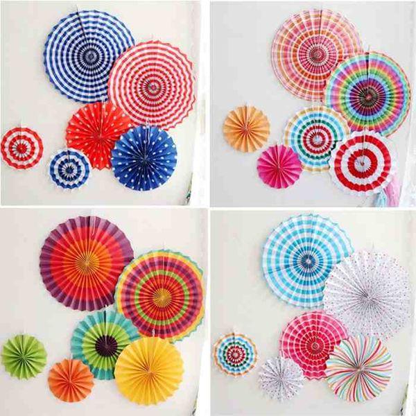 6pcs/set Colorful wheel Tissue Paper fans Flowers balls lanterns Party Decor Craft For Bar Birthday Party Wedding Decoration