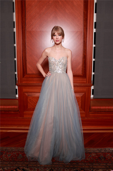 Taylor Swift In Celebrity Dresses Sequined Appliqued Prom Dress Red Carpet Floor Length Tulle Pleated Eveing Gown