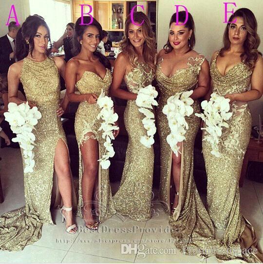 2019 lentejuelas atractivas vestidos de dama de oro Bling Bling escote diferente ilusión espalda vestidos de noche de alta división vaina largo vestidos de dama de honor