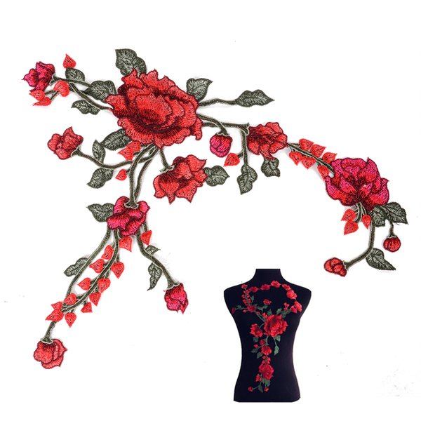 1pc Mayitr Embroidery Rose Flower Patch Badges Embroidered Cheongsam Fabric Applique Sewing Decoration Patches For Cloth Bags