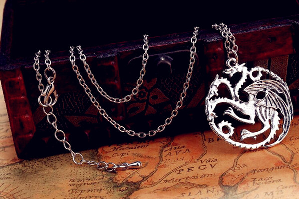 2015 new Flim Jewelry Daenerys Targaryen Dragon Necklace Game of Throne Fire And Blood free shipping