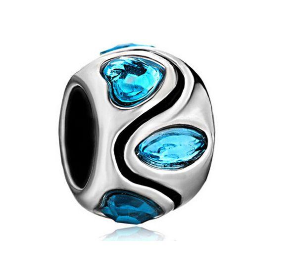 Valentine's Day Heart Shape Blue Crystals Birthstone Charm European Bead Fit Pandora Chamilia Biagi DIY Bracelet