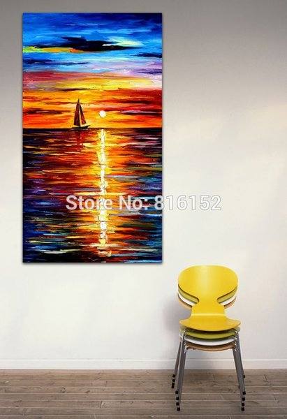 Palette Knife Painting Sunset Sailing Boat Slient Night Sea Picture Printed On Canvas For Office Home Wall Art Decor
