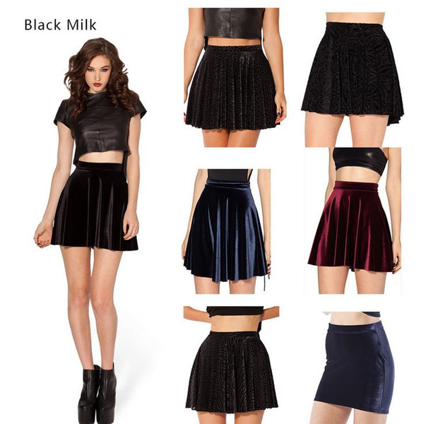 Europe and the United States new during the spring and autumn winter short black velvet hip umbrella skirt female skater skirt