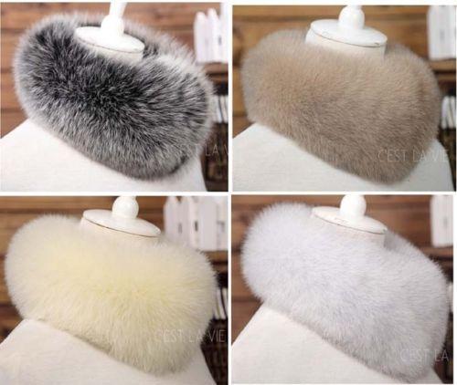 women faux fox fur collar cape neck warmer wrap fluffy scarf shawl