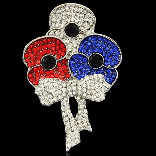 Silver Plated Big Bow Alloy Poppy Flower Brooch White Blue Red Crystals UK Rmembrance Day Gift Poppy Pins Brooches Top Quality!