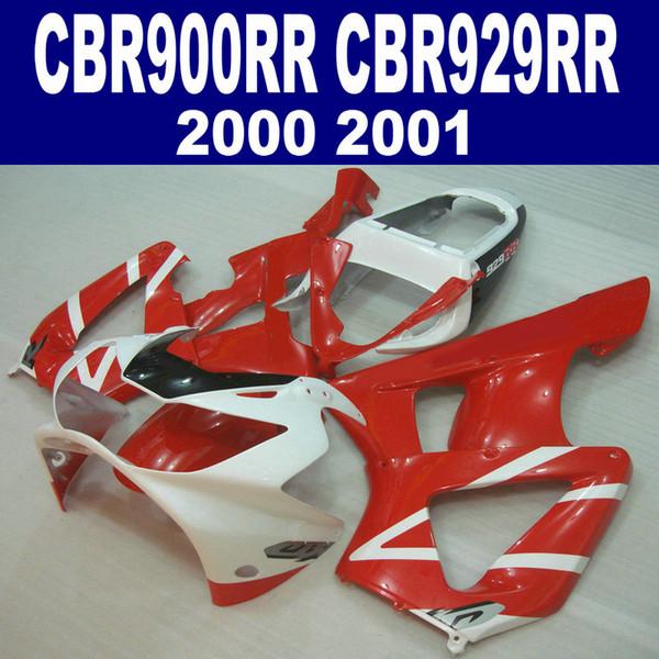 Personnalisez l'ensemble de carénages de moto pour HONDA CBR929 2000 2001 kit de carénage en plastique blanc noir noir CBR 929 RR CBR900RR HB12